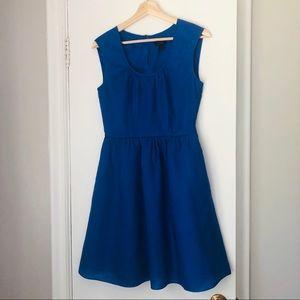 J. Crew Cobalt Blue Linen Cap Sleeve Dress